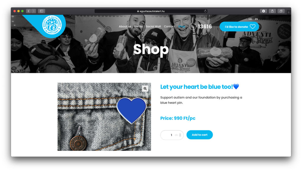 You can support the foundation by purchasing the blue heart pins.