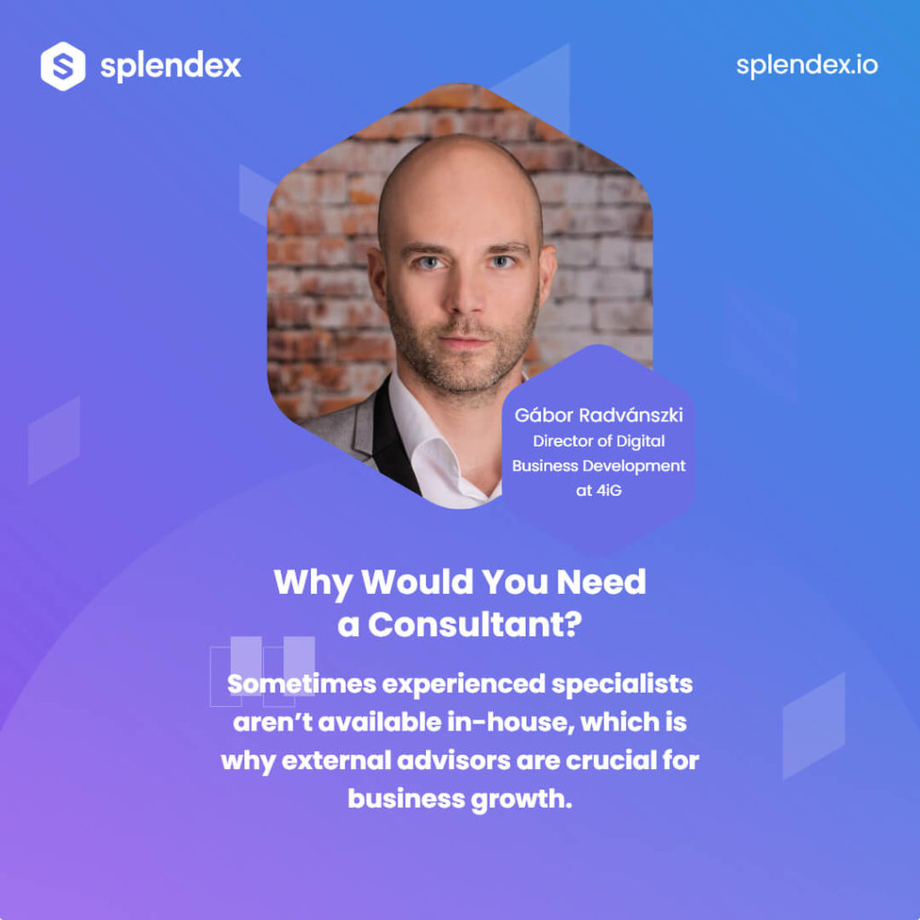 Why Would You Need a Consultant? - Sometimes experienced specialists aren't available in-house, which is why external advisors are crucial for business growth. Gábor Radvánszki - Director of Digital Business Development at 4iG.